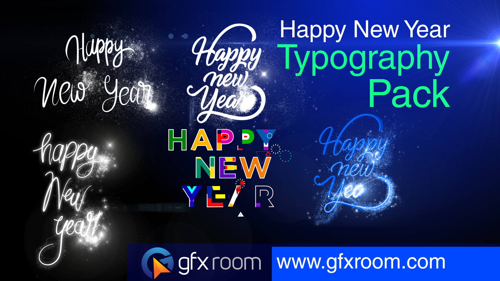 Happy New Year Typography Pack Animation